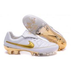 Nike Tiempo R10 FG Kangaroo Leather Cleat White Golden