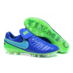 New 2016 Nike Tiempo Legend 6 FG Leather Football Cleats Blue Green