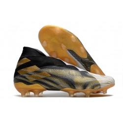 Top adidas Nemeziz 19+ FG Soccer Cleats White Gold Metallic Core Black