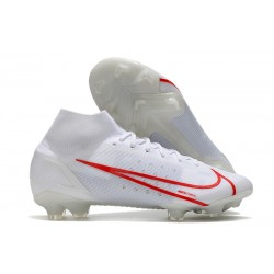 Nike Top Mercurial Superfly 8 Elite FG Cleats White Red