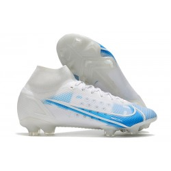 Nike Top Mercurial Superfly 8 Elite FG Cleats White Blue
