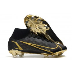 Nike Top Mercurial Superfly 8 Elite FG Cleats Black Gold