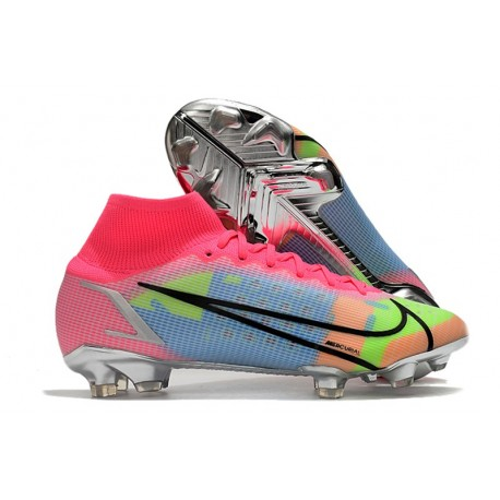 Nike Top Mercurial Superfly 8 Elite FG Cleats Pink Blue Green