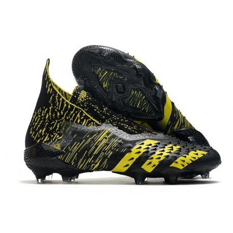 adidas Predator Freak + FG Cleats Black Yellow