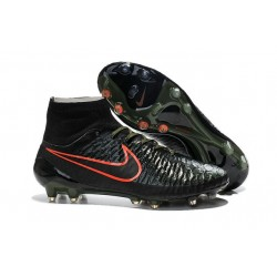 High Top Nike Magista Obra FG ACC Soccer Cleats Black Green Crimson