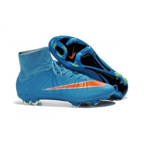 new style e5a13 c37b0 Nike Mercurial Superfly Iv Ronaldo CR7 FG Soccer Shoes Blue Orange