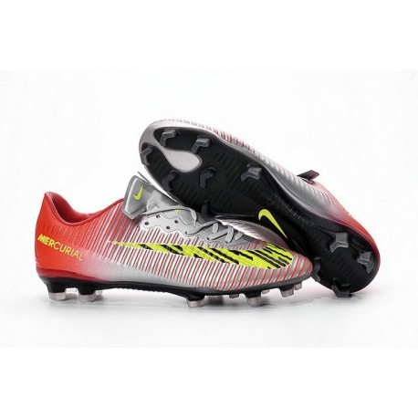 Nike Mercurial Vapor 11 FG Men Football Cleat Silver Red Yellow d2ee163aad02