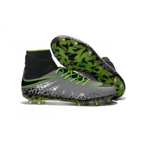 New 2016 Nike Hypervenom Phantom II FG ACC Neymar Cleat Pure Platinum Black Green