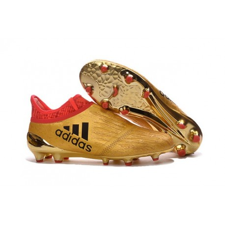adidas X 16+ Purechaos FG News 2016 Soccer Shoes Gold Red Black