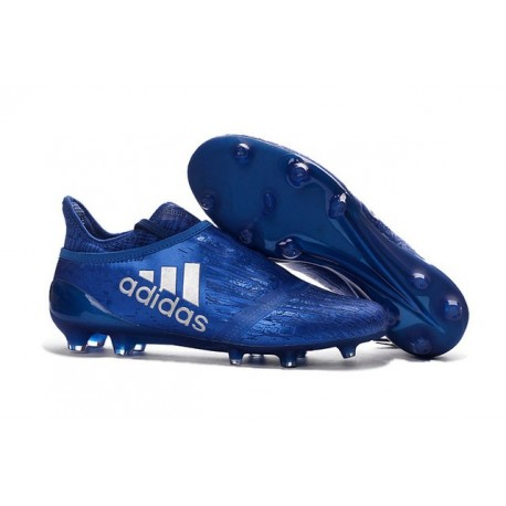 New Mens adidas X 16+ Purechaos FG/AG Cleats Blue Silver