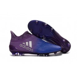 New Mens adidas X 16+ Purechaos FG/AG Cleats Purple Blue Silver