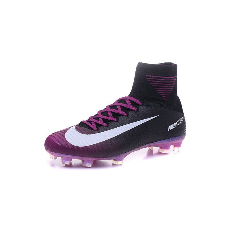 Nike Mercurial Superfly V FG Mens Football Boots Black White Purple 208dcaf1e