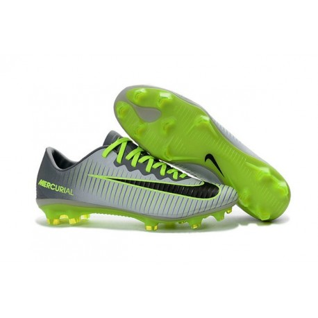 Nike Mercurial Vapor 11 FG Men Football Cleat Platinum Black Green