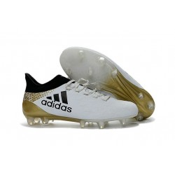New 2016 adidas X 16.1 FG Firm Ground Soccer Boots White Black Gold