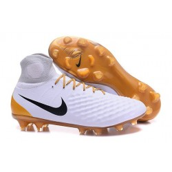 Nike Magista Obra II FG Firm Ground Soccer Boots White Gold Black
