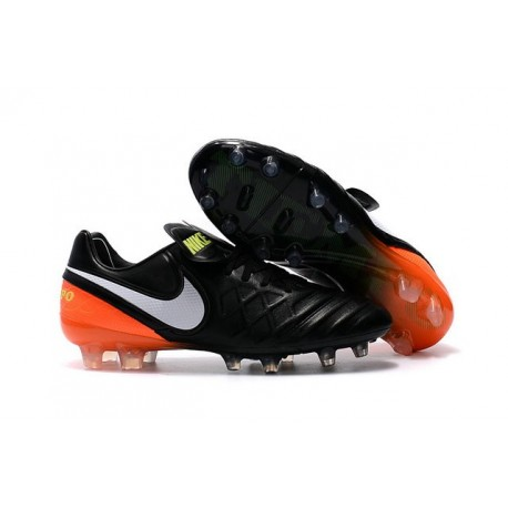 New 2016 Nike Tiempo Legend 6 FG Leather Football Cleats Black White Orange