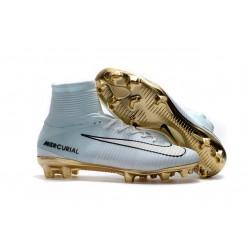 Nike Mercurial Superfly V CR7 Vitórias FG Firm Ground Boot White Gold