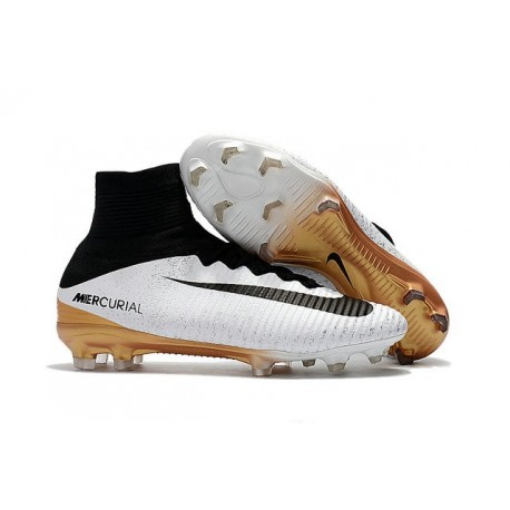 hot sales f72d5 abd00 Nike Mercurial Superfly V FG Firm Ground Boot White Black Gold