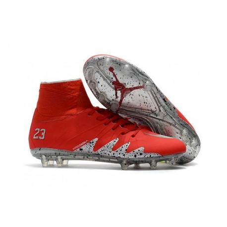 low priced b66c4 30a4c Neymar x Jordan NJR Nike Hypervenom Phantom II FG Soccer Boots Red Silver