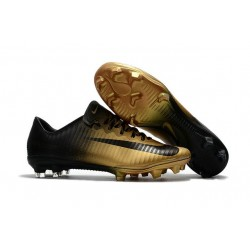 News Nike Mercurial Vapor XI FG ACC Soccer Shoes Black Gold