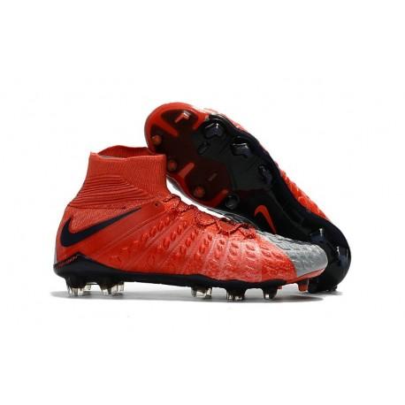 Nike HyperVenom Phantom III DF FG 2017 New Soccer Shoes Red Gray Black