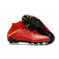 Nike HyperVenom Phantom III DF FG 2017 New Soccer Shoes Red Gold