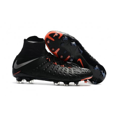 Nike HyperVenom Phantom III DF FG 2017 New Soccer Shoes Black Silver Red
