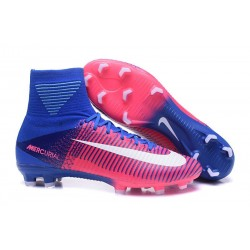 Nike Mercurial Superfly V FG Men's Soccer Boots Pink White Blue