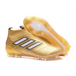 New 2017 adidas ACE 17+ Purecontrol Laceless FG - Gold White