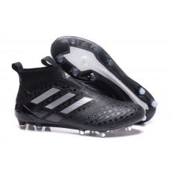 New 2017 adidas ACE 17+ Purecontrol Laceless FG - Black Silver