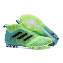 New 2017 adidas ACE 17+ Purecontrol Laceless FG - Green Black