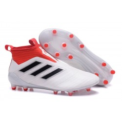 New 2017 adidas ACE 17+ Purecontrol Laceless FG - White Red Black