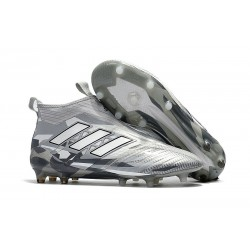 New 2017 adidas ACE 17+ Purecontrol Laceless FG - Grey White