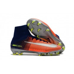 Nike Mercurial Superfly V FG Men's Soccer Boots Blue Crimson Green Silver
