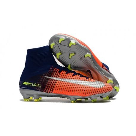 Nike Mercurial Superfly V FG Men's Soccer Boots Blue Crimson Green Silver