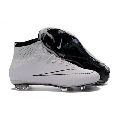 Top Nike Mercurial Superfly Iv FG Firm Ground Cleat White Black