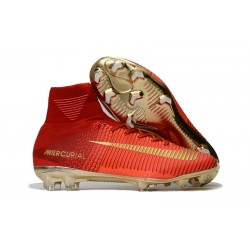 Nike Mercurial Superfly V CR7 FG Men's Soccer Boots Red Golden