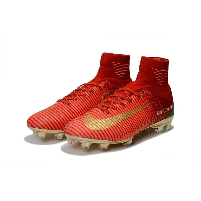 d8897df87 Nike Mercurial Superfly V CR7 FG Men s Soccer Boots Red Golden