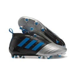 Mens adidas ACE 17+ Purecontrol FG 2017 Soccer Cleats Black Silver Blue