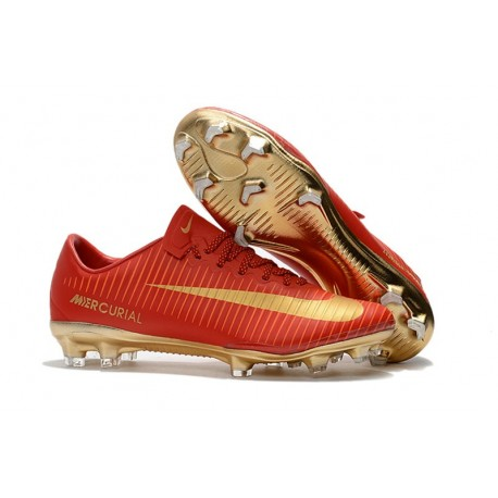 Mens 2017 Nike Mercurial Vapor 11 FG Football Boots Cr7 Red Golden