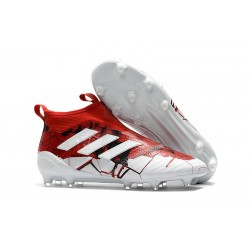 Mens adidas ACE 17+ Purecontrol FG 2017 Soccer Cleats Red White