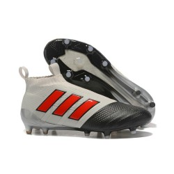 Mens adidas ACE 17+ Purecontrol FG 2017 Soccer Cleats Gray Black Red