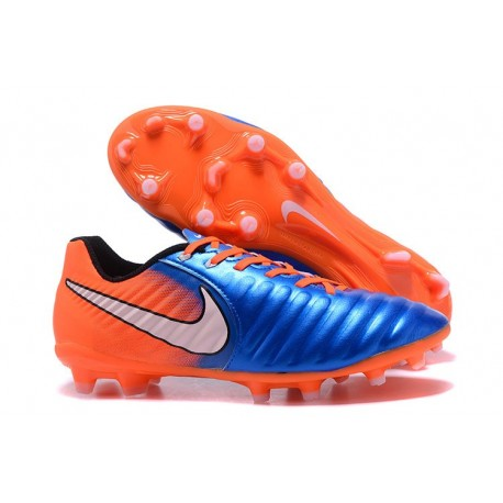Nike Tiempo Legend VII FG Kangaroo Leather Shoes - Blue Orange