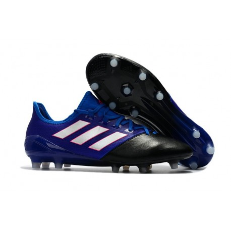 New adidas Ace 17.1 Leather FG Football Boots - Black Blue White