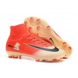 Nike Mercurial Superfly V FG Mens Firm Ground Cleats Red Golden Black