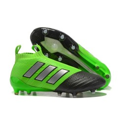 Mens adidas ACE 17+ Purecontrol FG 2017 Soccer Cleats Green Black Silver