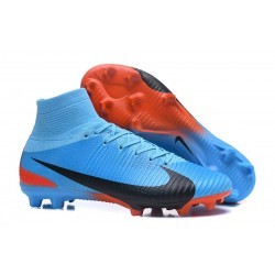 Nike Mercurial Superfly V FG Mens Firm Ground Cleats Blue Black Red