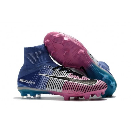 Nike Mercurial Superfly V FG Mens Firm Ground Cleats Blue Pink Black