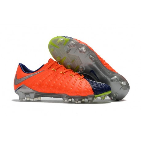 Nike 2017 Hypervenom Phantom III FG Firm Ground Low-cut Boots Orange Blue Silver