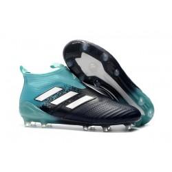 Mens adidas ACE 17+ Purecontrol FG 2017 Soccer Cleats Black Blue White